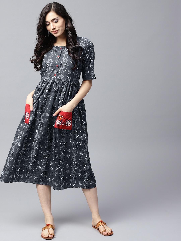 ANTARAN | Women Grey Printed Fit and Flare Dress