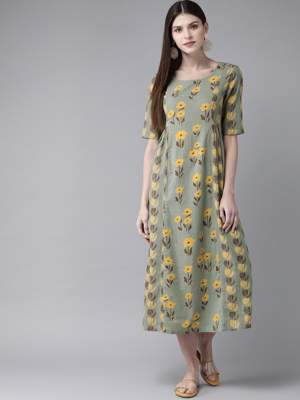 ANTARAN | Women Green & Yellow Printed A-Line Dress
