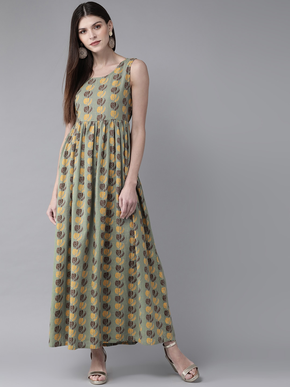 ANTARAN   Women Green & Yellow Printed Maxi Dress