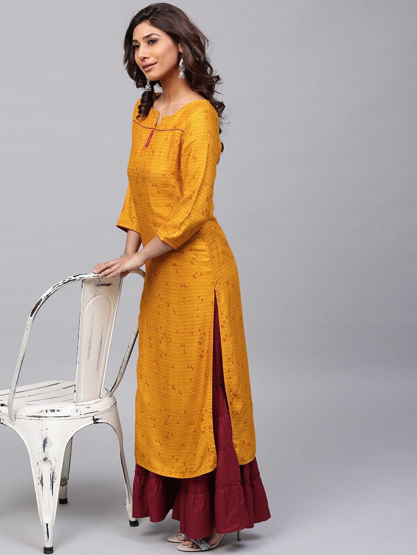 ANTARAN | Women Mustard Yellow Printed Straight Kurta