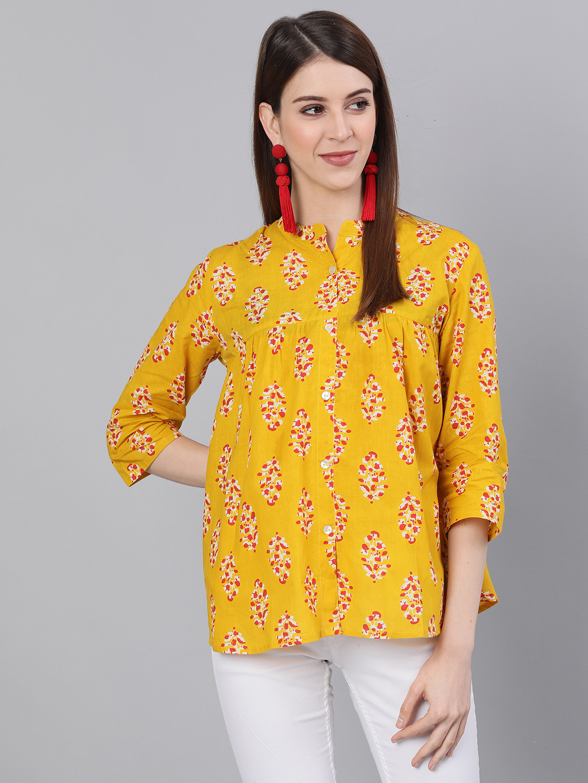 ANTARAN | Antaran Casual 3/4 Sleeve Printed Women Yellow Top