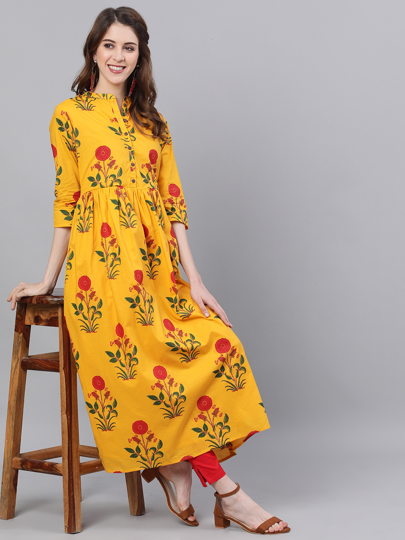 ANTARAN | Antaran Women Floral Print Flared Kurta