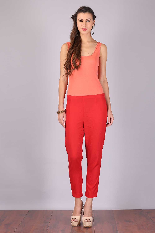 Aurelia   Aurelia Women Red Color Trouser
