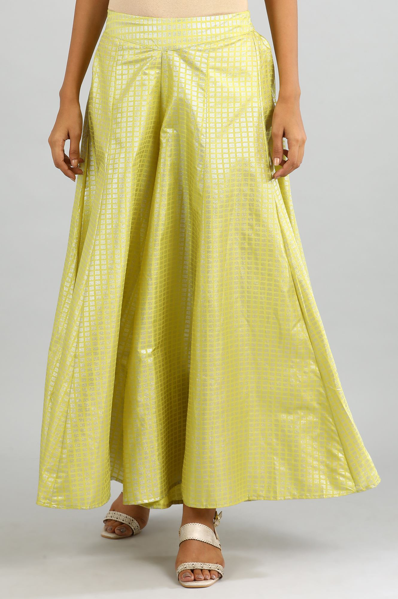Aurelia | Yellow Flared Printed Palazzos