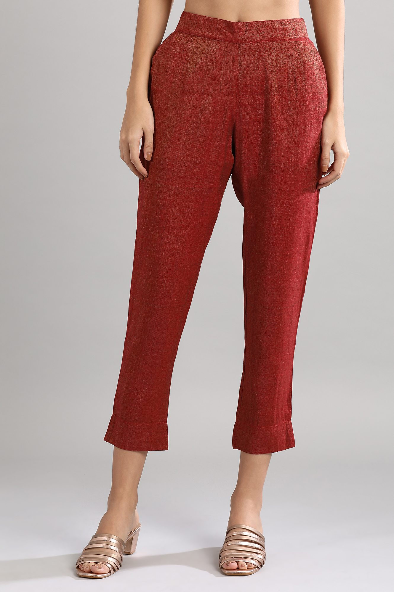 Aurelia   Red Solid Trousers