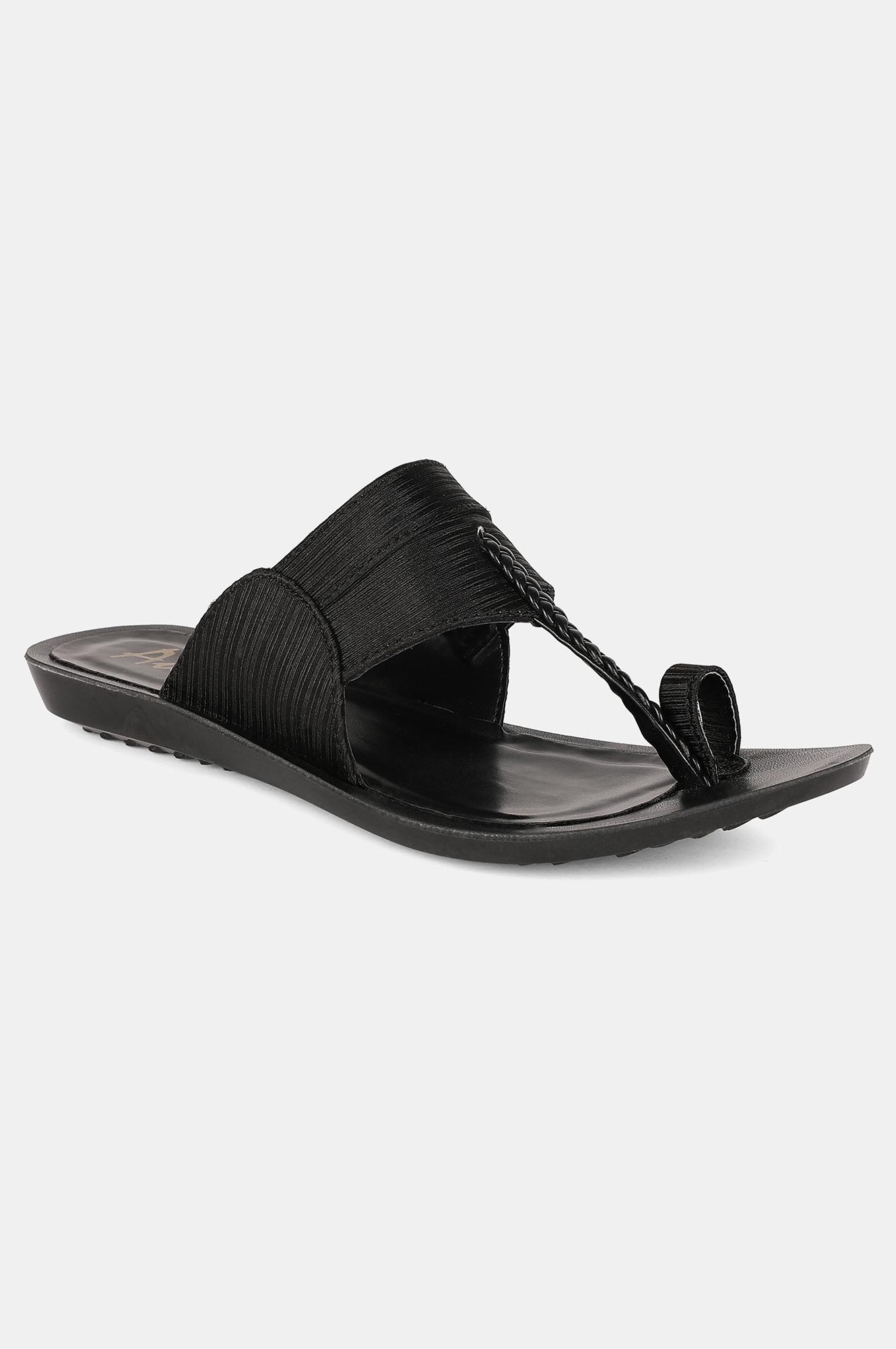 Aurelia | Aurelia Black Almond Toe Textured Flat