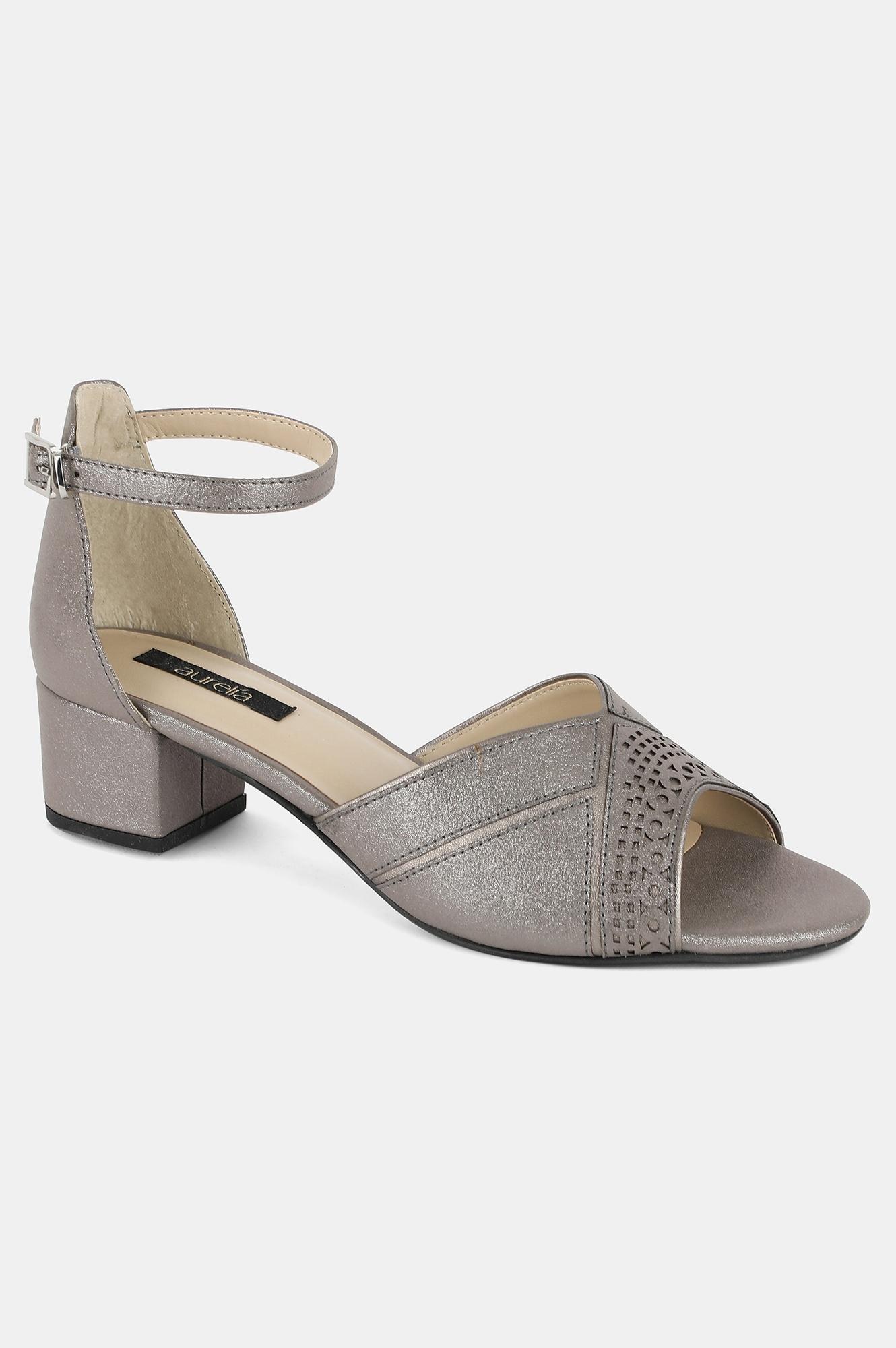 Aurelia | Aurelia Pewter Almond Toe Laser Cut Block Heel