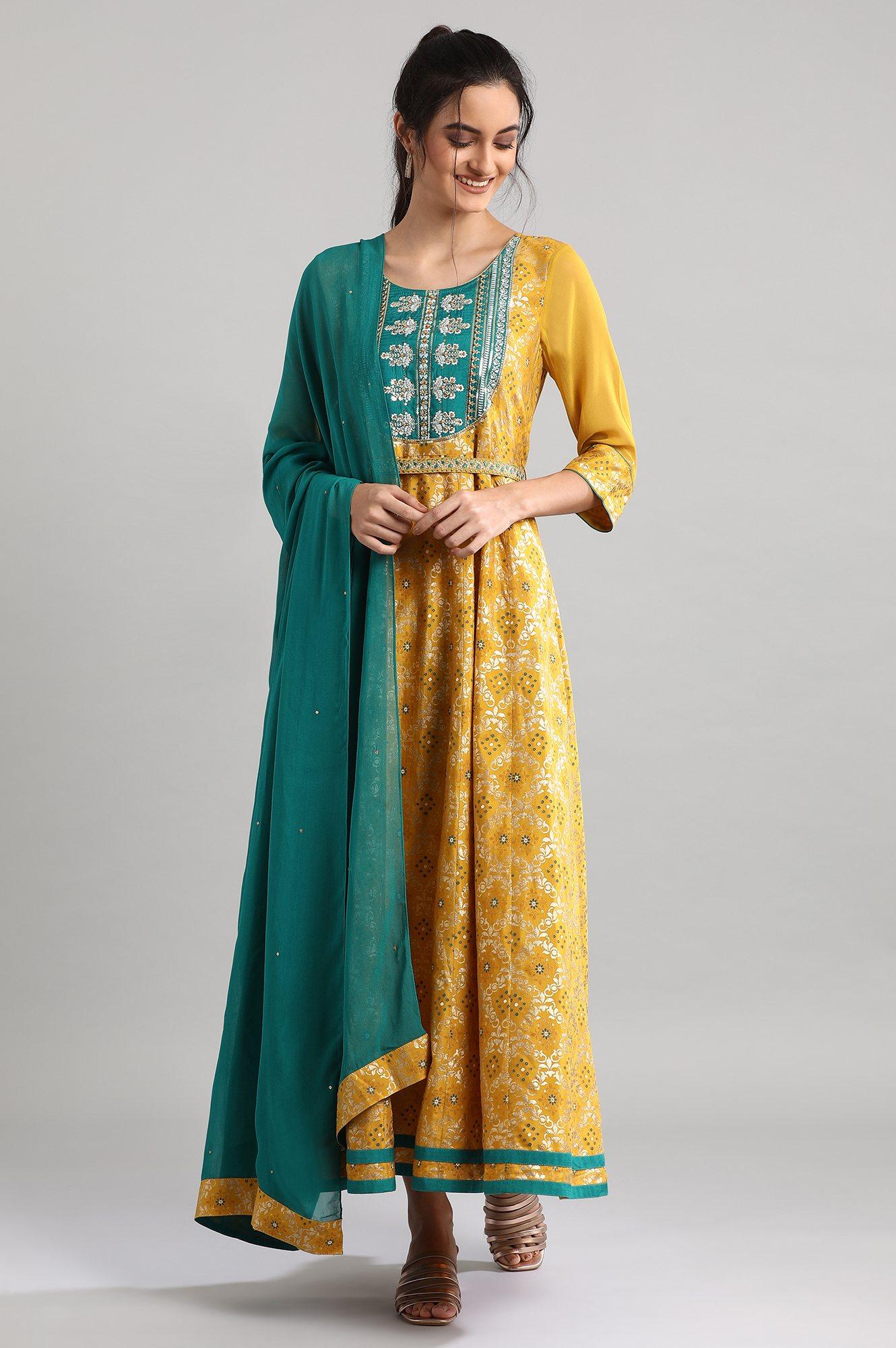 Aurelia | Yellow Ankle-Length Printed Dress Set