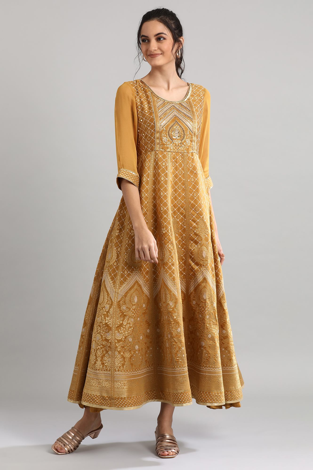 Aurelia | Golden Round Neck Printed Dress