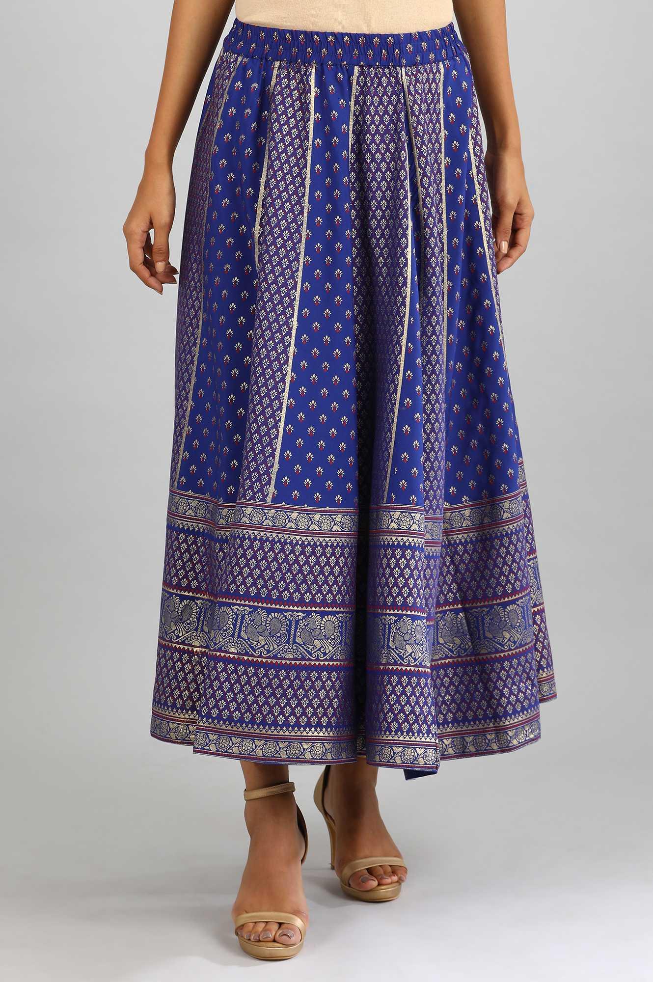 Aurelia | Navy Printed Skirt