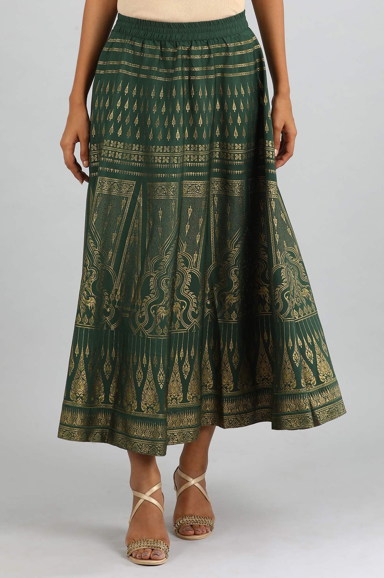 Aurelia | Green Printed Skirt