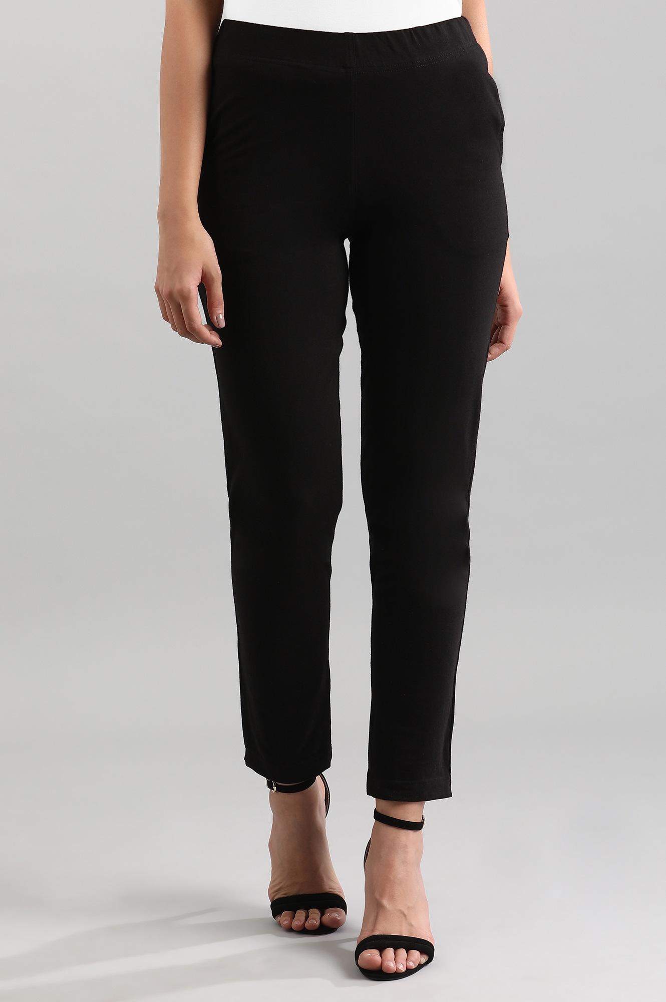 Aurelia | Black Solid Trousers