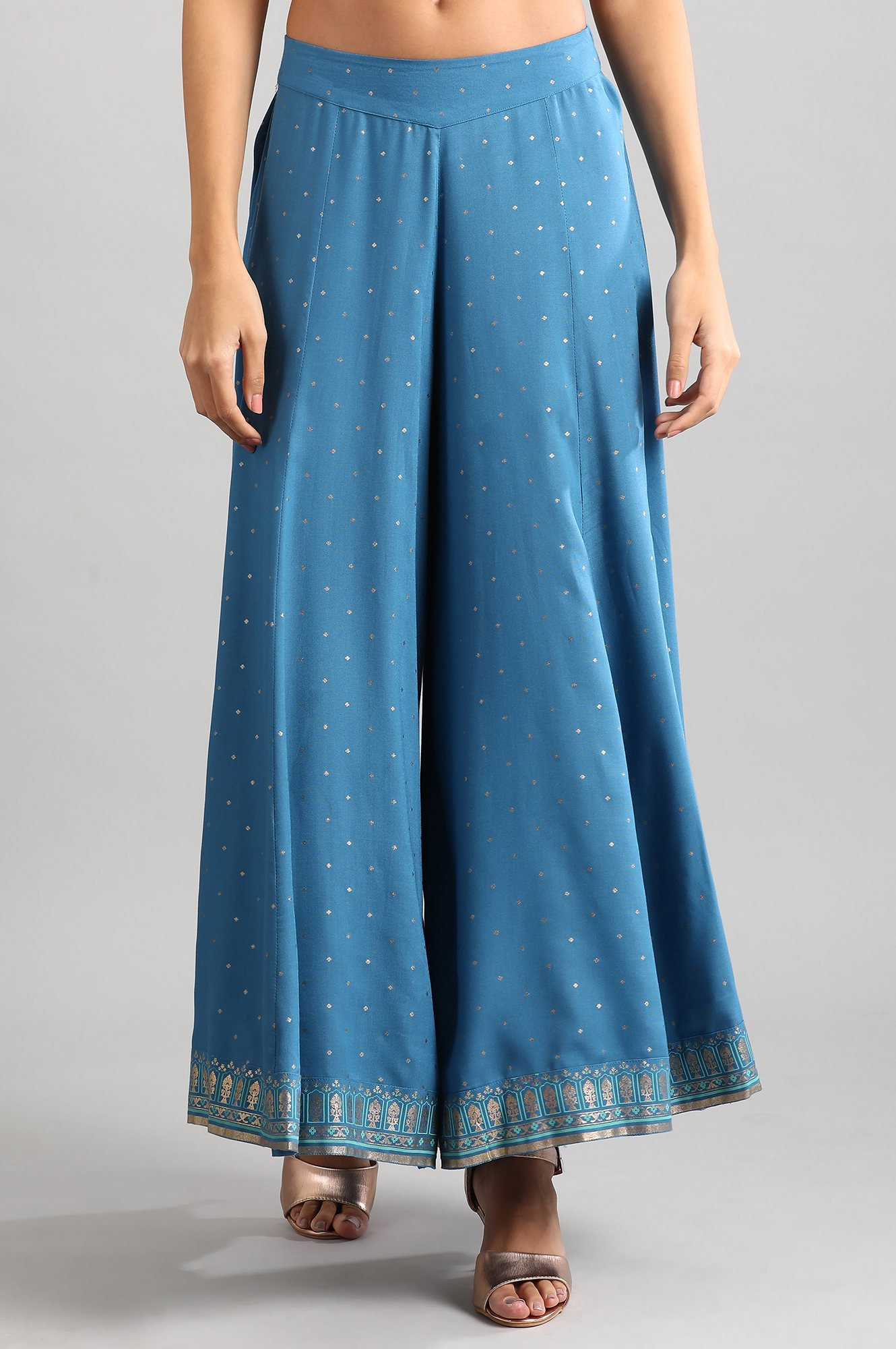 Aurelia | Blue Flared Printed Palazzos