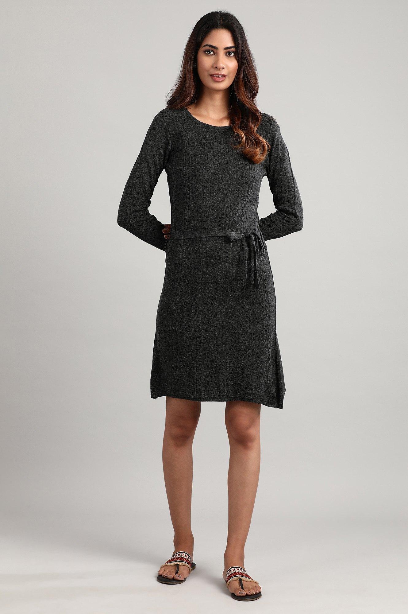 Aurelia | Grey Round Neck Winter Dress