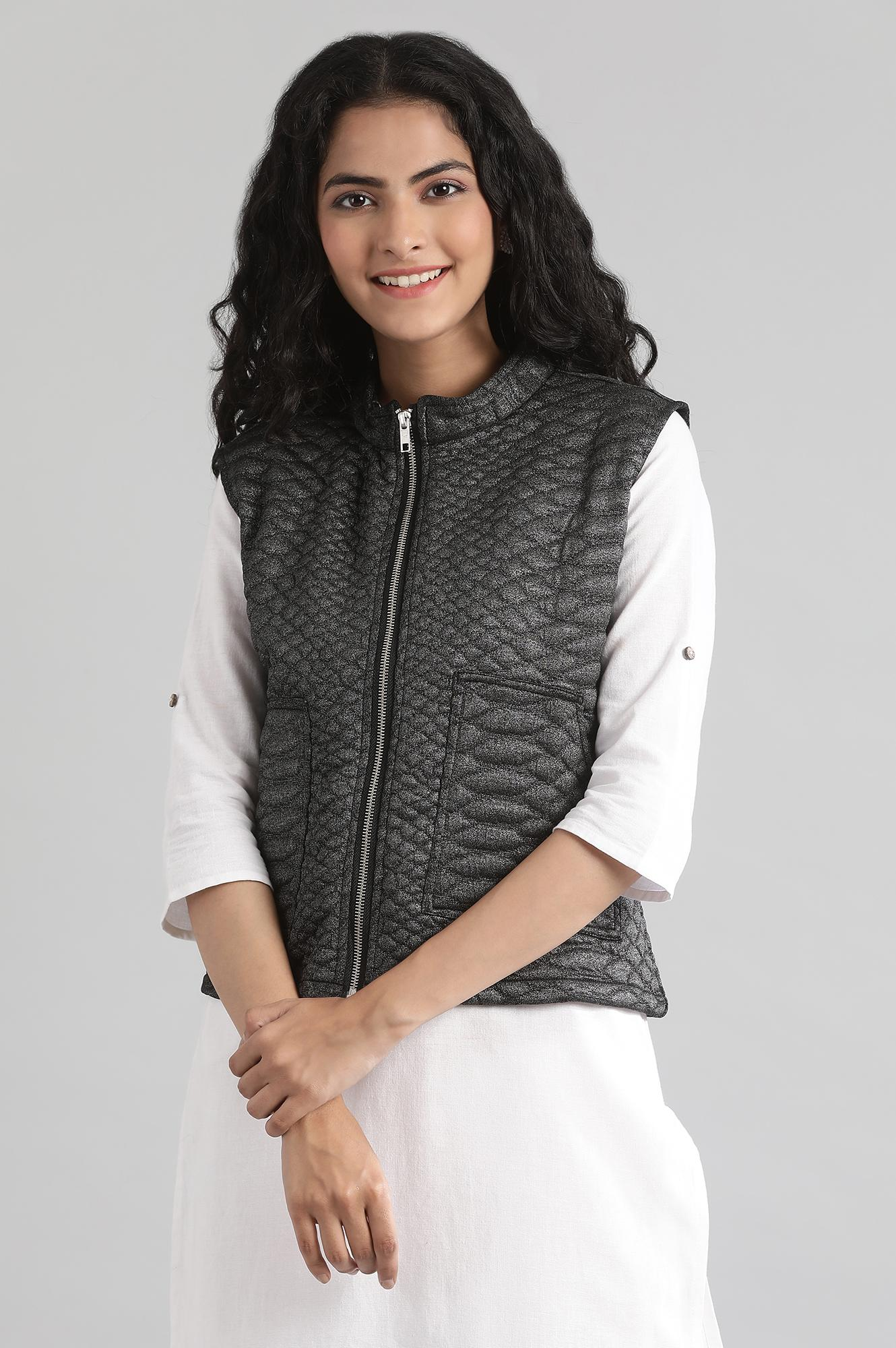 Aurelia | Black Collar Neck Quilted Jacket