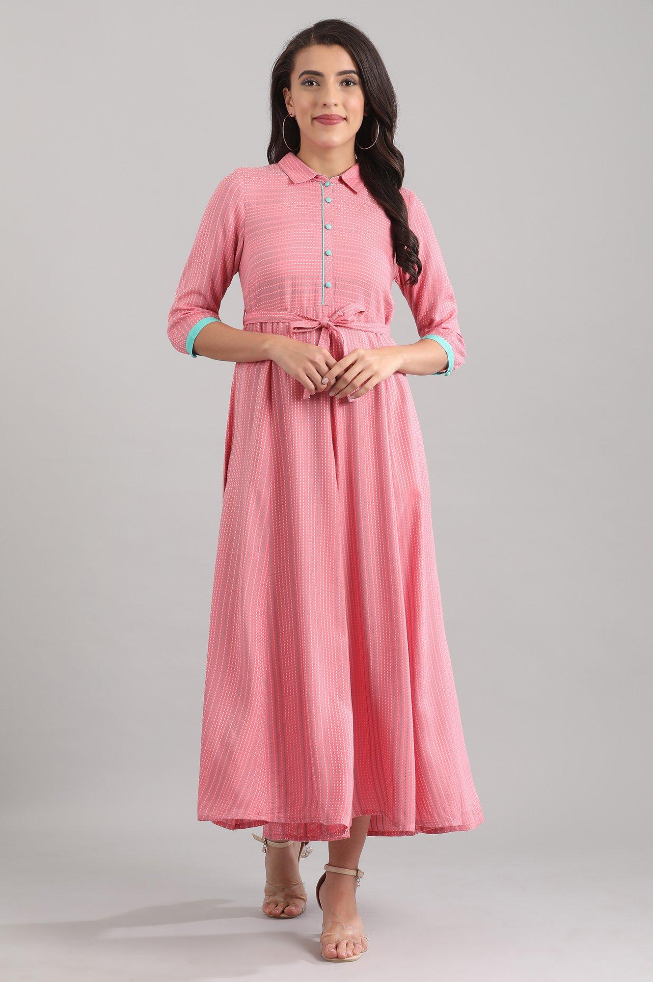 Aurelia | Pink Shirt Collar Kurta