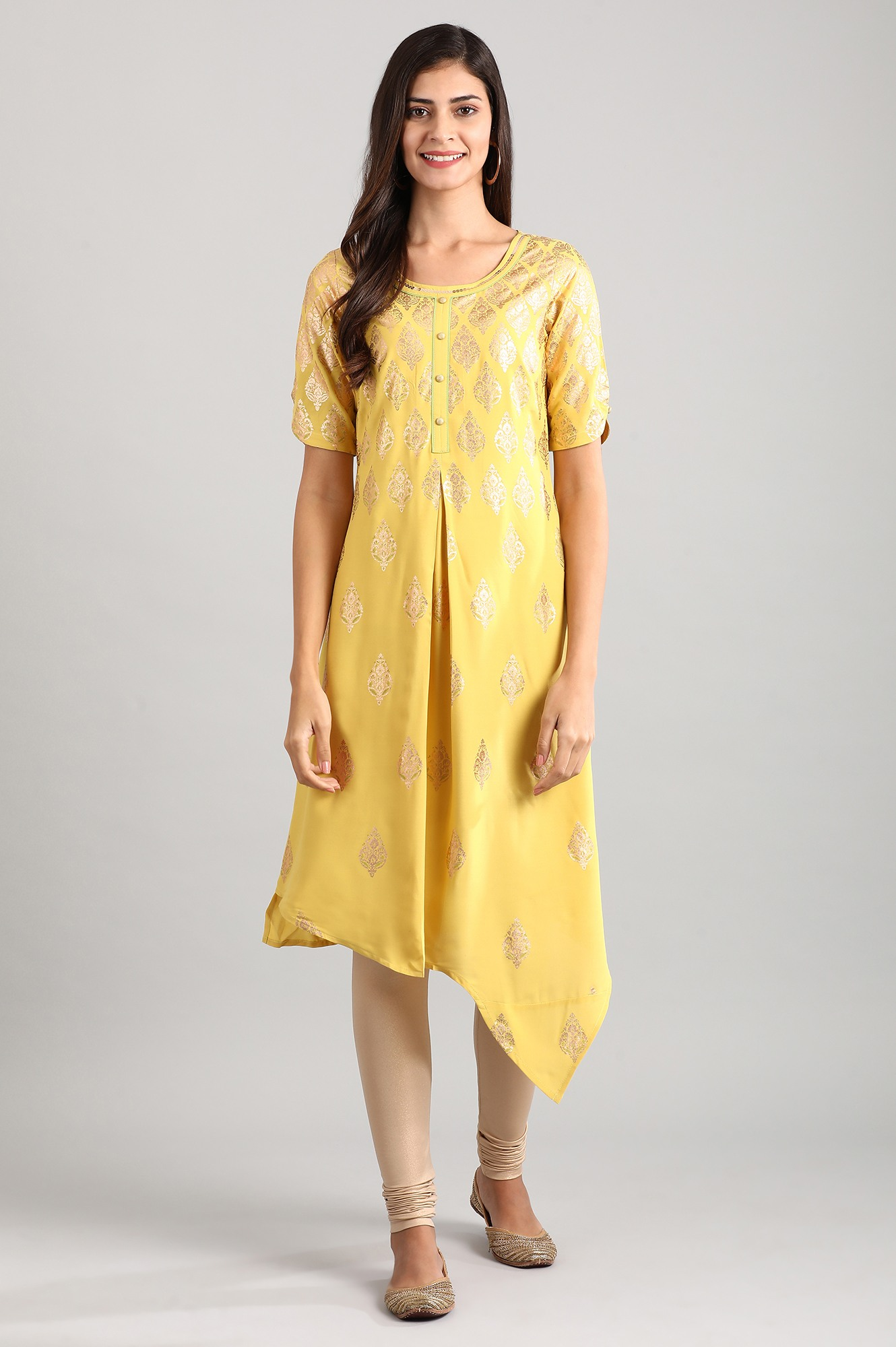 Aurelia | Yellow Asymetric Kurta