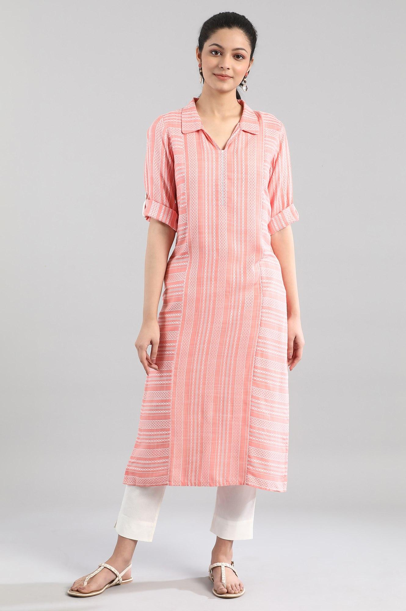 Aurelia   Peach Shirt Collar Kurta