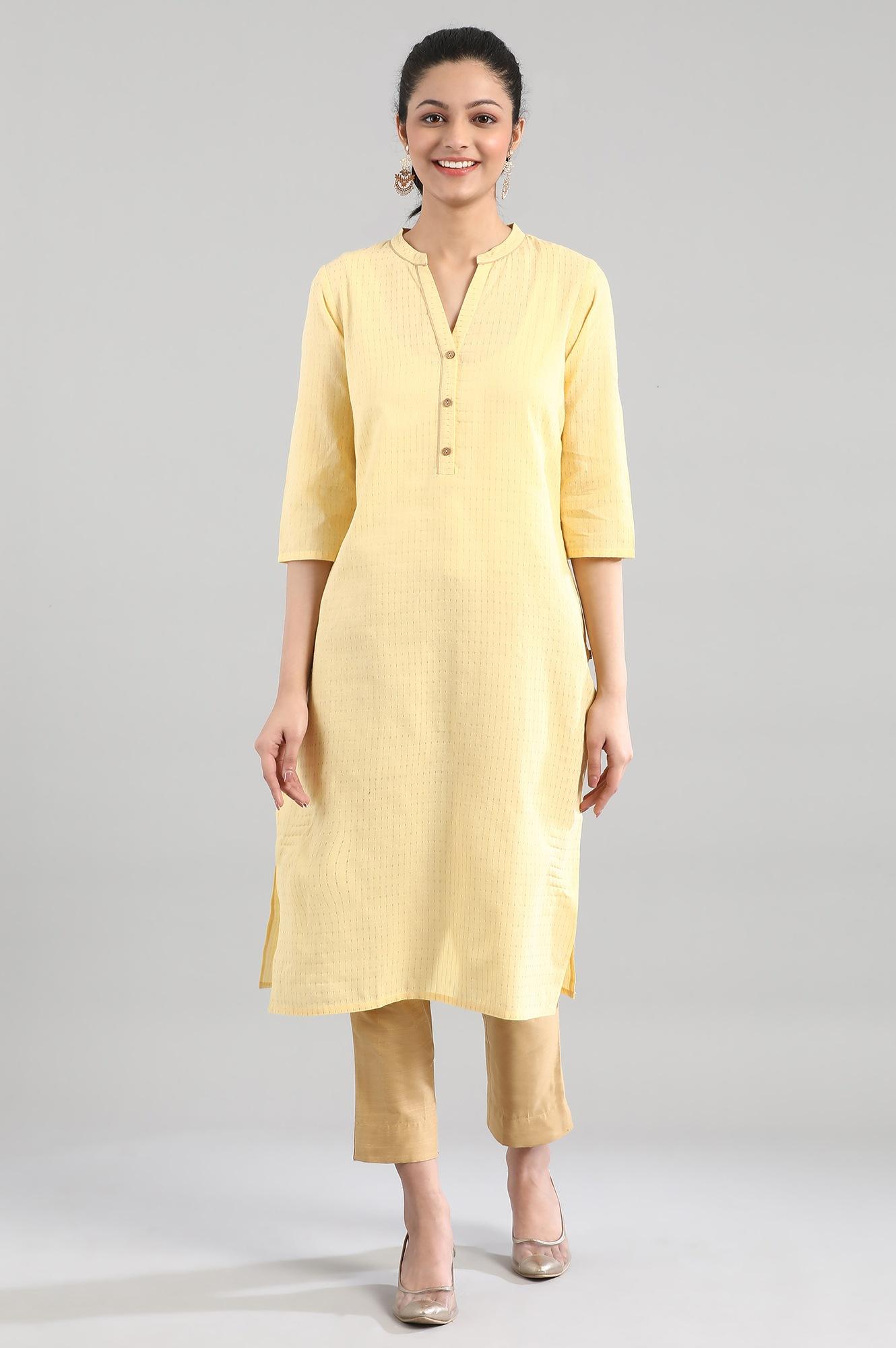 Aurelia | Yellow Casual Cotton Kurta