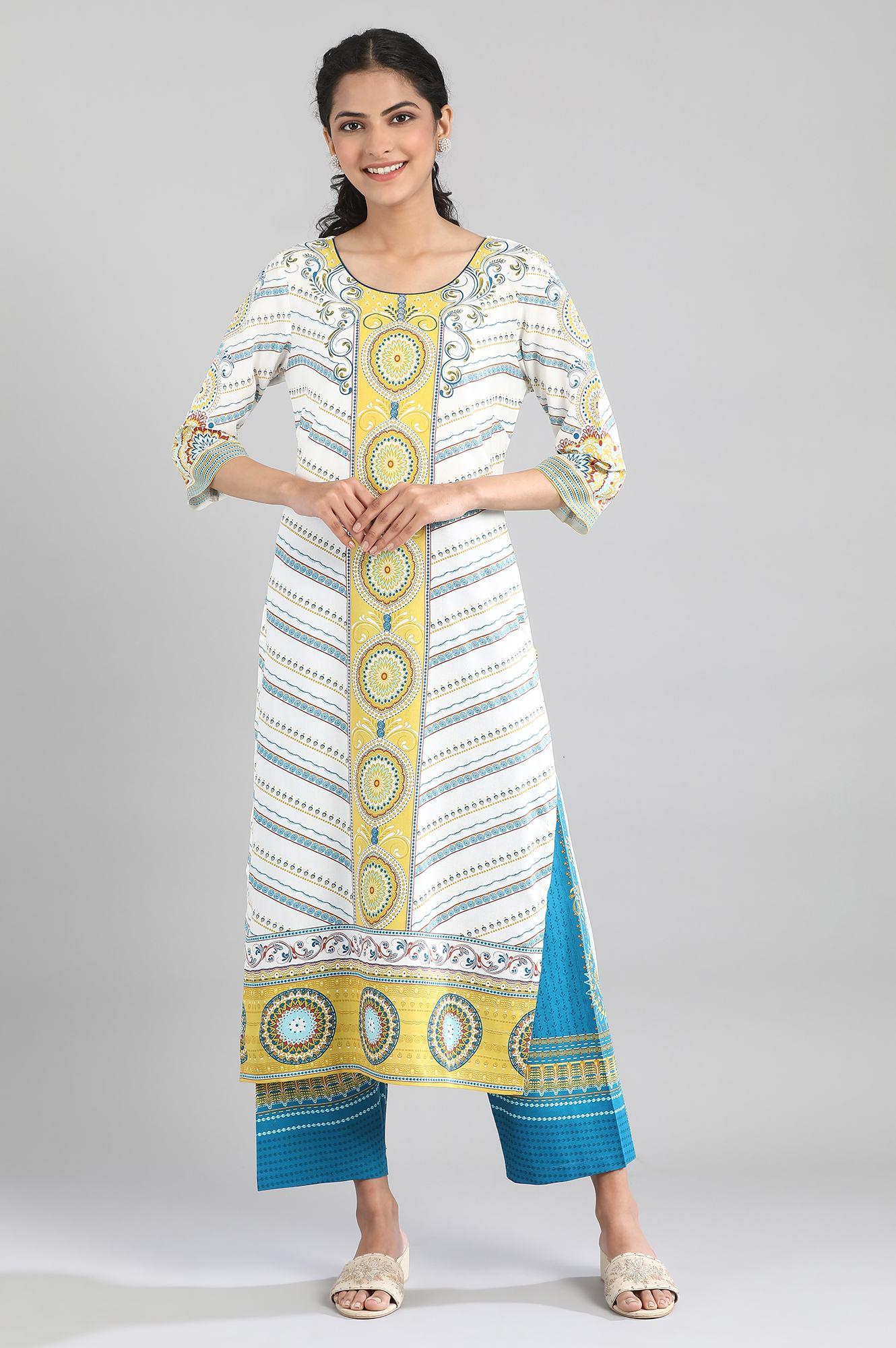 Aurelia | White Kurta with blue and yellow prints