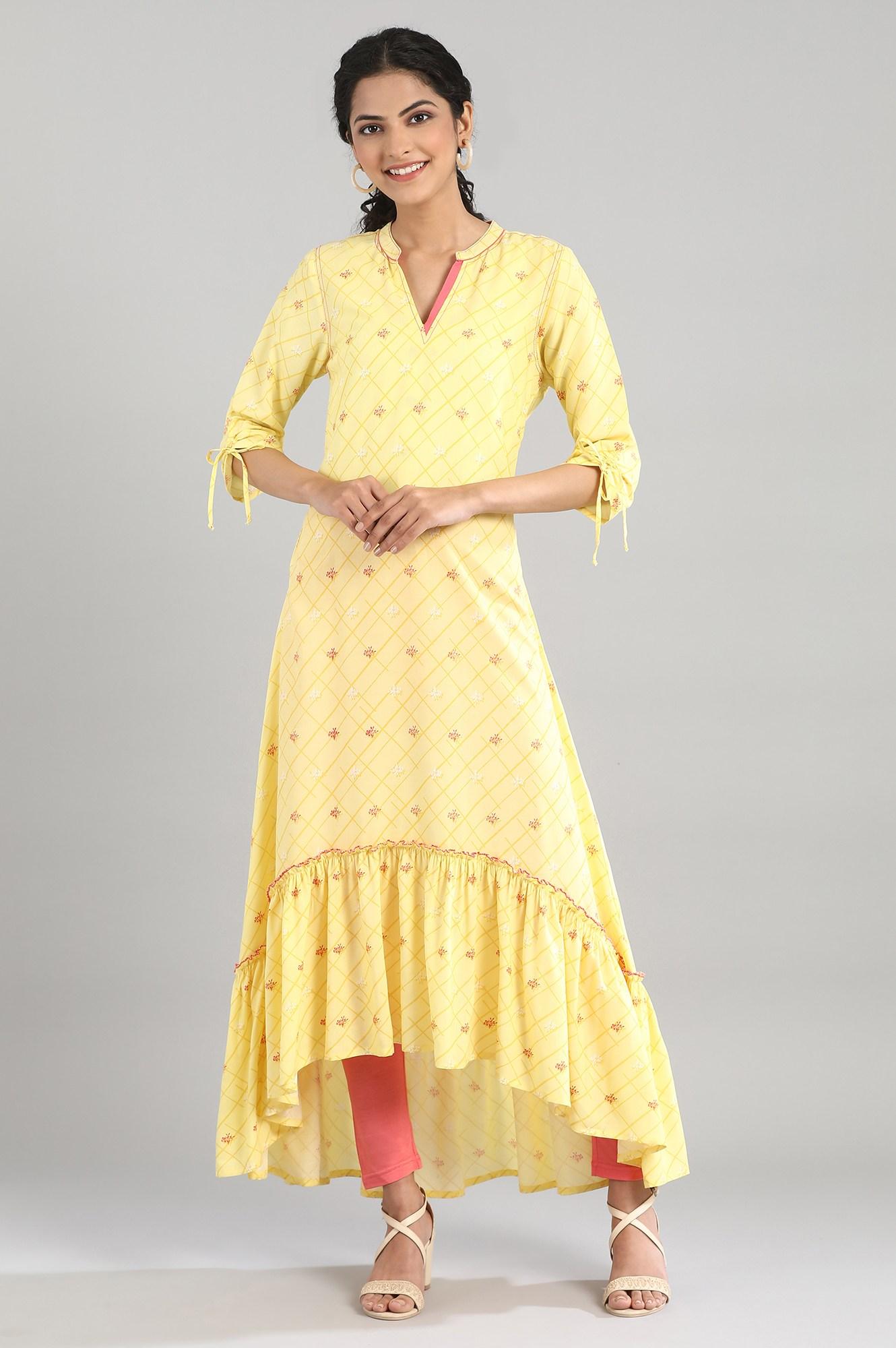 Aurelia | Yellow High-Low Kurta
