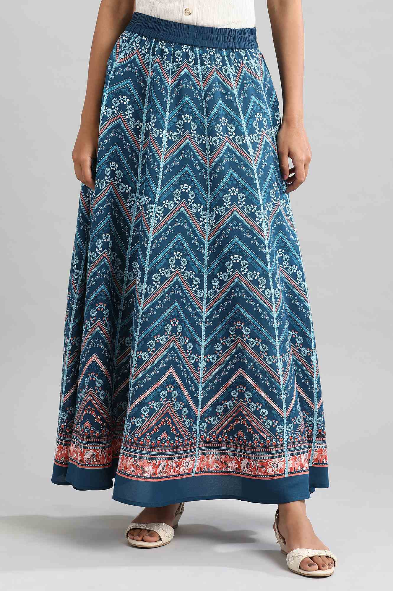 Aurelia | Blue Flared Printed Skirts