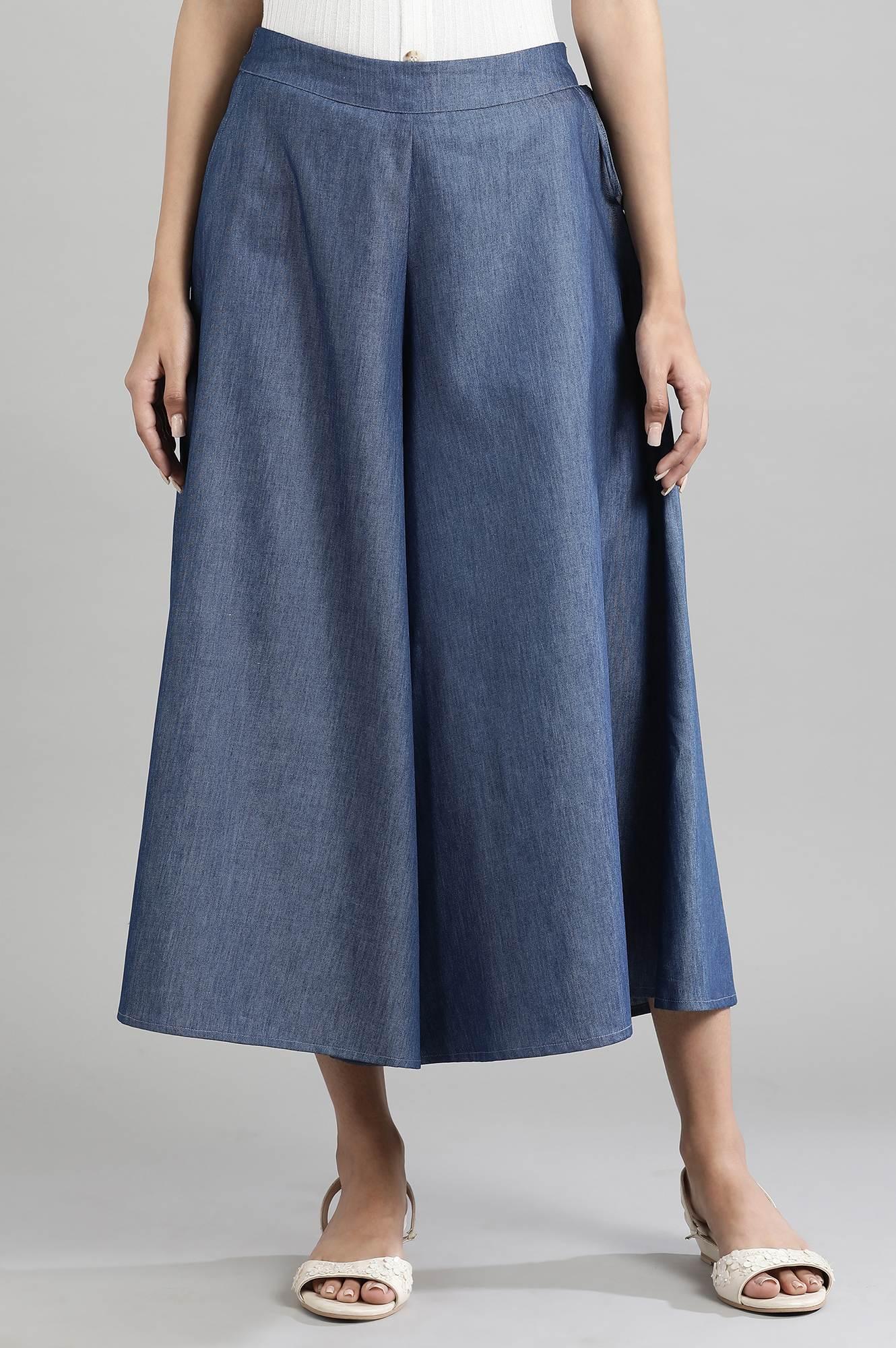 Aurelia | Blue Cotton Denim Culottes
