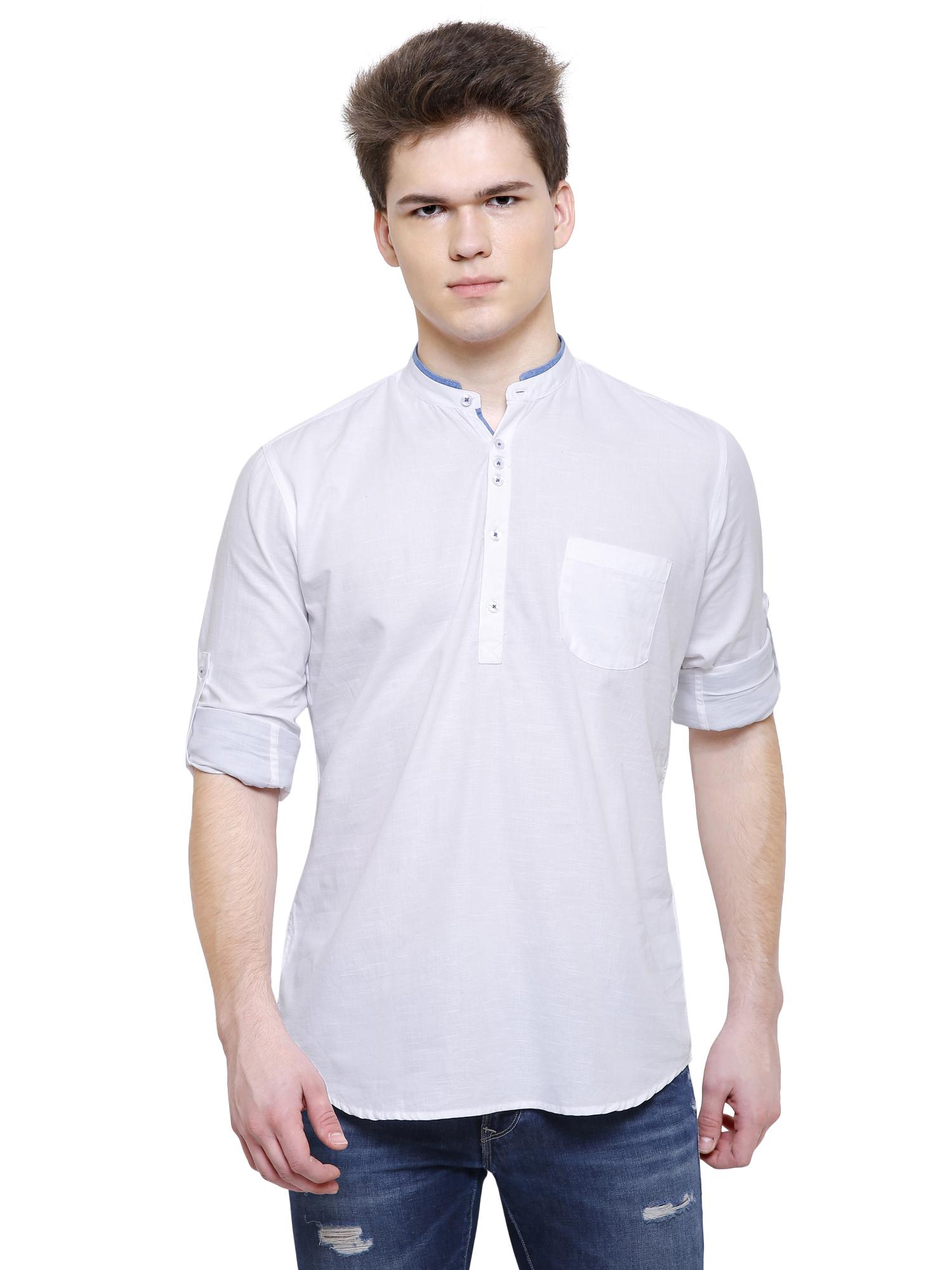 Kuons Avenue Men's White Linen Cotton Short Kurta- KACLFS1317WH