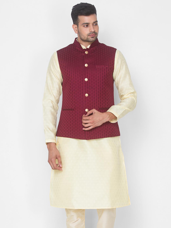 Ethnicity   Maroon Jacquard sleeveless jacket