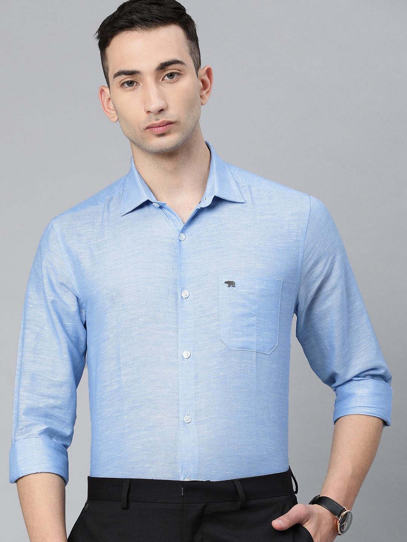 The Bear House | Men's Blue Cotton-Linen Formal Shirt