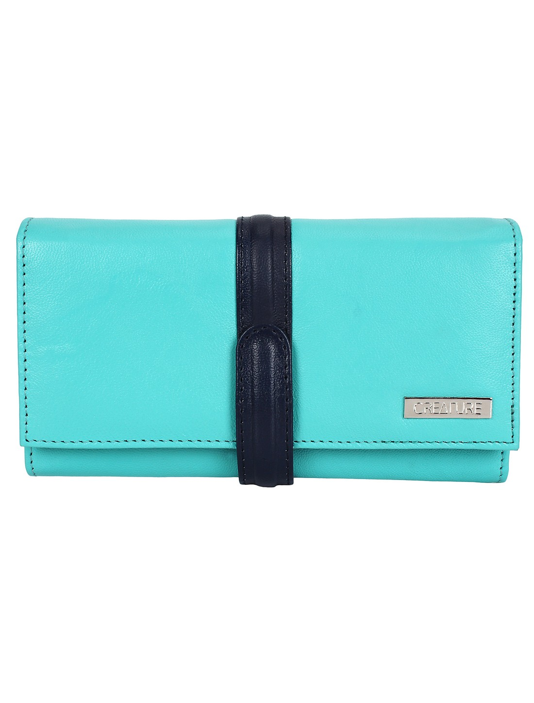 CREATURE   CREATURE Turquoise Blue Stylish Genuine Leather Clutch for Women