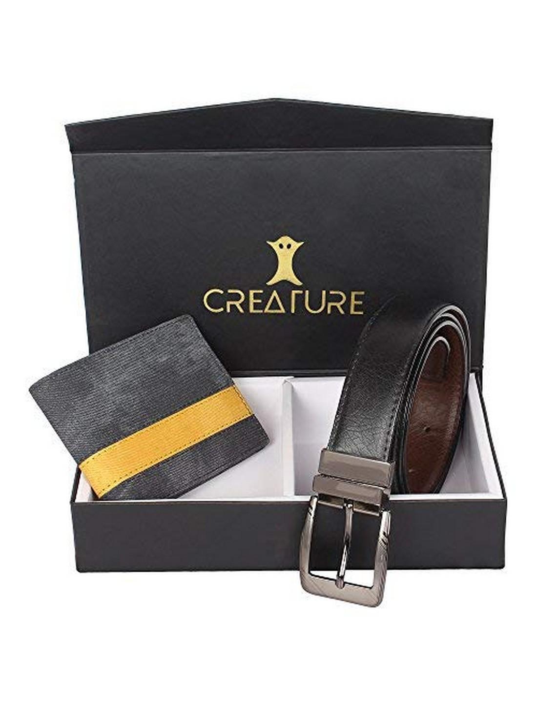 CREATURE   CREATURE Combo of Blue Denim Wallet for Men and Black-Brown Reversible Belt for Men