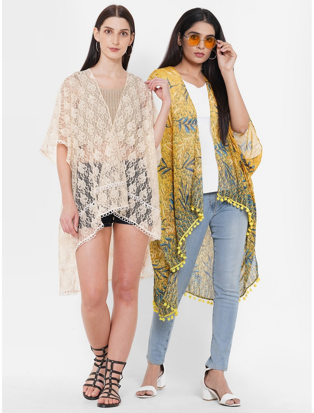 Get Wrapped | Get Wrapped Net Fabric & a Polyester Printed Kimono Combo for Women - Combo Pack of 2