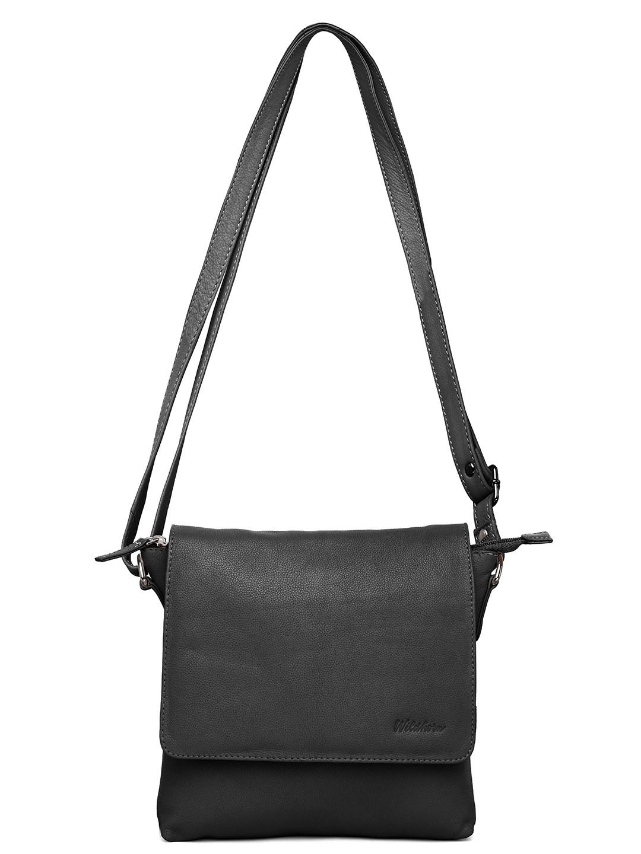 WildHorn | WildHorn Upper Grain Genuine Leather Ladies Sling, Cross-body, Hand Bag with Adjustable Strap - Black