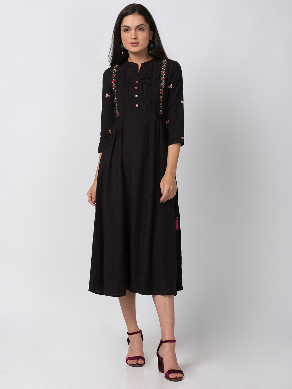 Ethnicity | Ethnicity Black Rayon Flax Dobby Women Dress