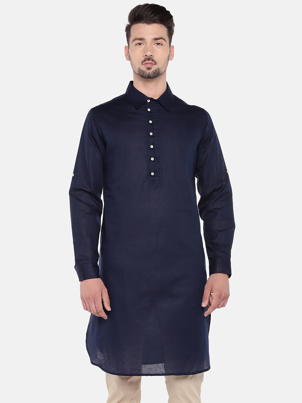Ethnicity | Ethnicity Navy Cotton Linen Men Kurta