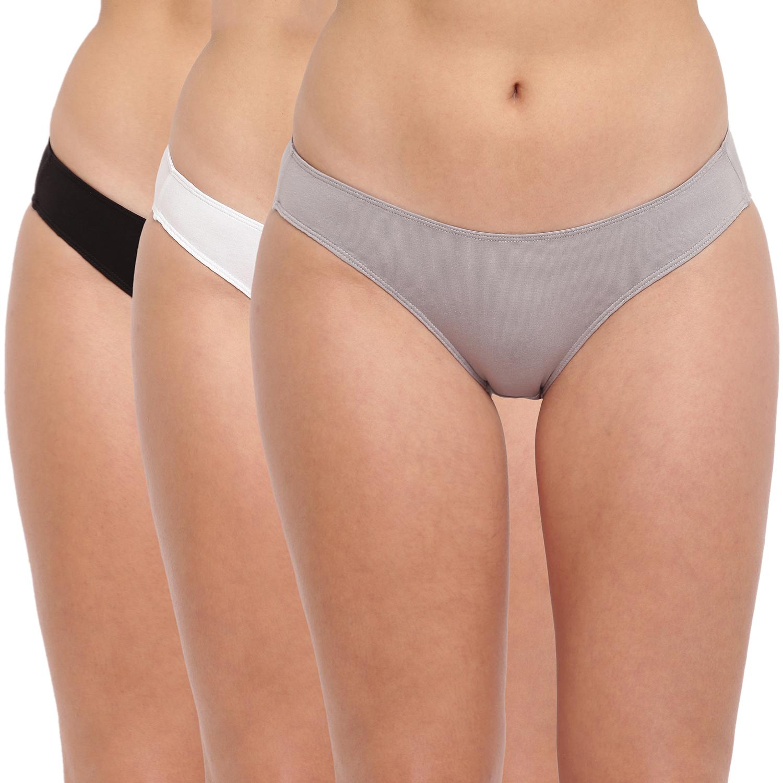 BASIICS by La Intimo | Grace Well Bikini Brief - Black,Grey,White (Pack Of 3)