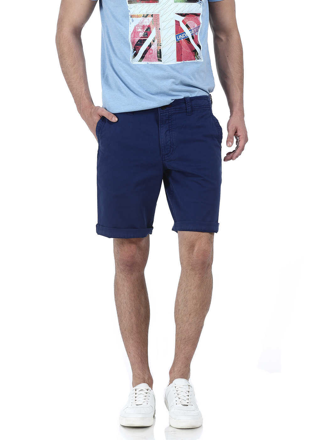 Basics   Basics Comfort Fit Blue Garment Dyed Knee Length Shorts
