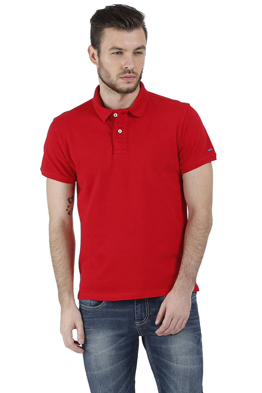 Basics   Basics Muscle Fit Red Piqu Polo T-Shirt