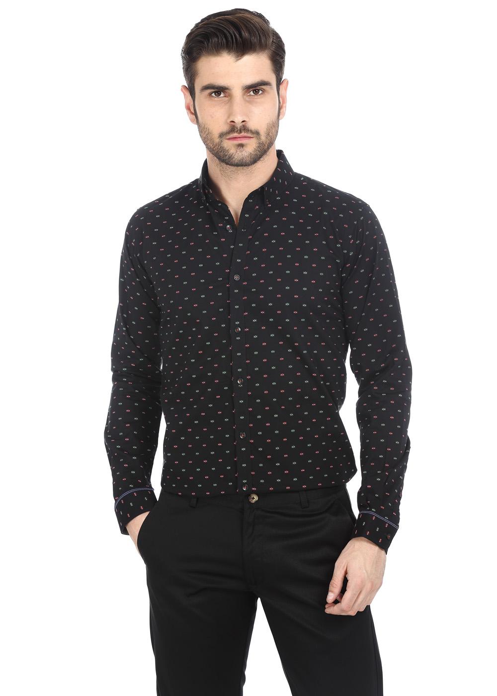 Basics | Basics Smart Slim Fit Anthracite Black Jacquard Butta Evening Wear Shirt