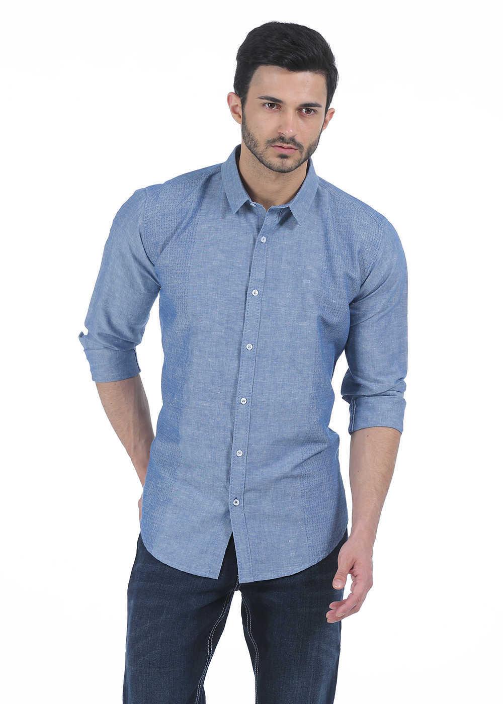 Basics | Basics Slim Fit Dusty Blue Chambray Combination Shirt