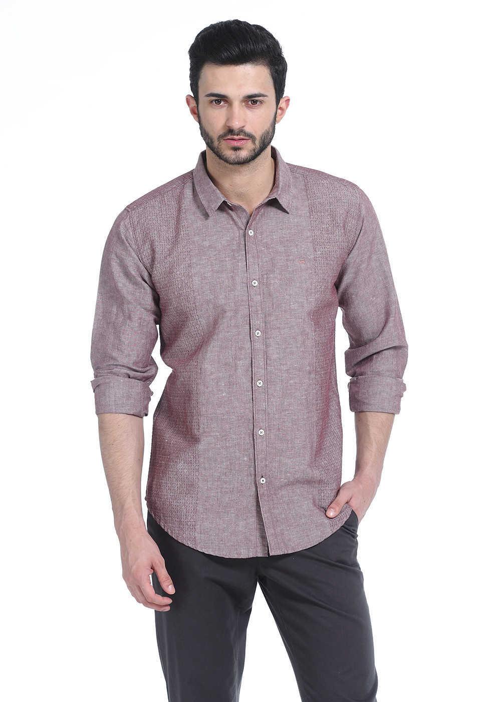 Basics | Basics Slim Fit Red Taupe Chambray Combination Shirt