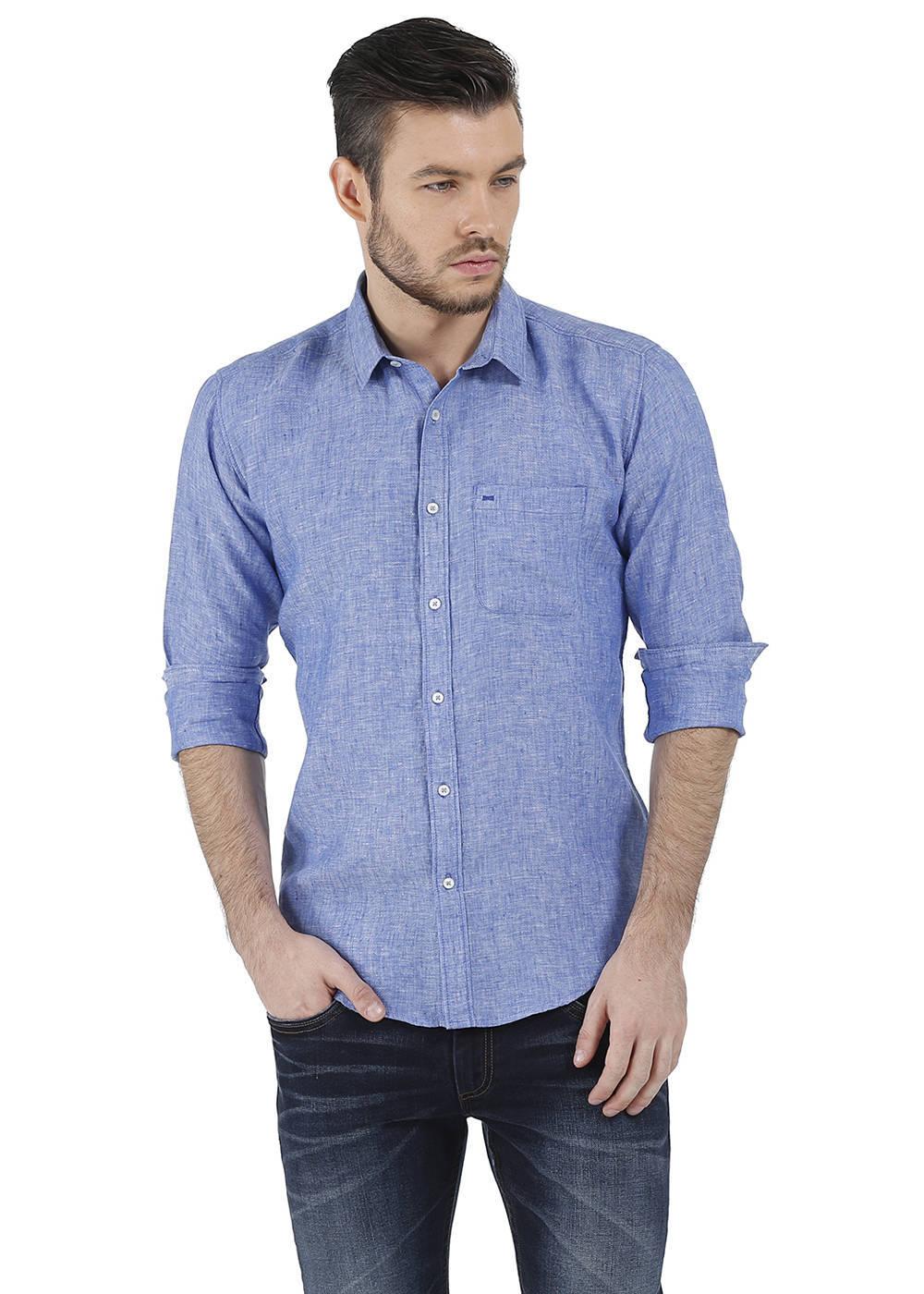Basics   Basics Slim Fit Blue Chambray Linen Shirt-16BCSH34296