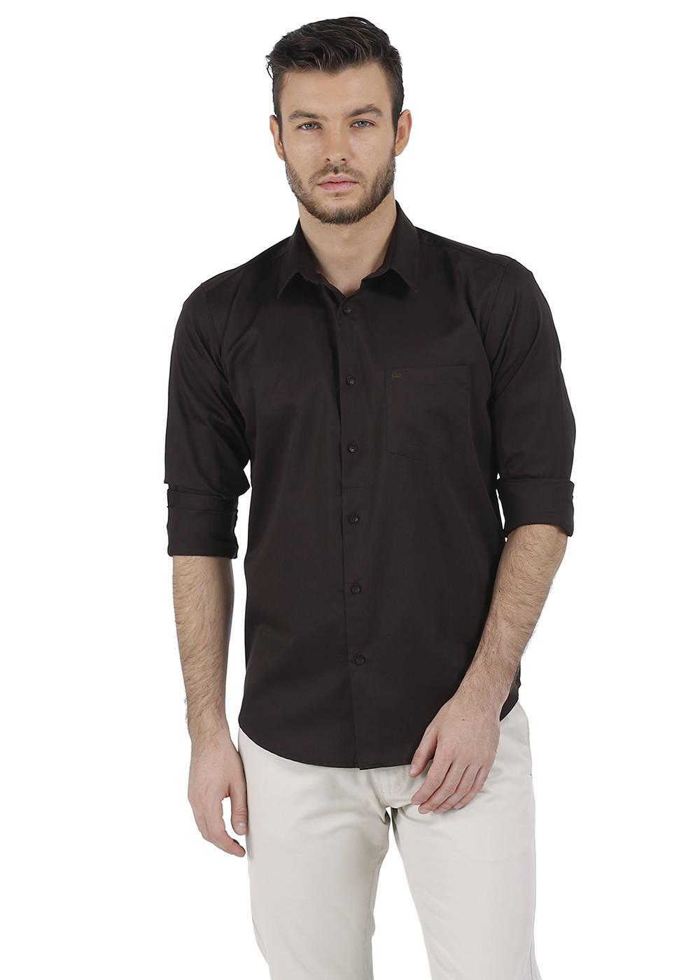 Basics   Basics Slim Fit Demitasse Brown Satin Shirt-16BCSH35252