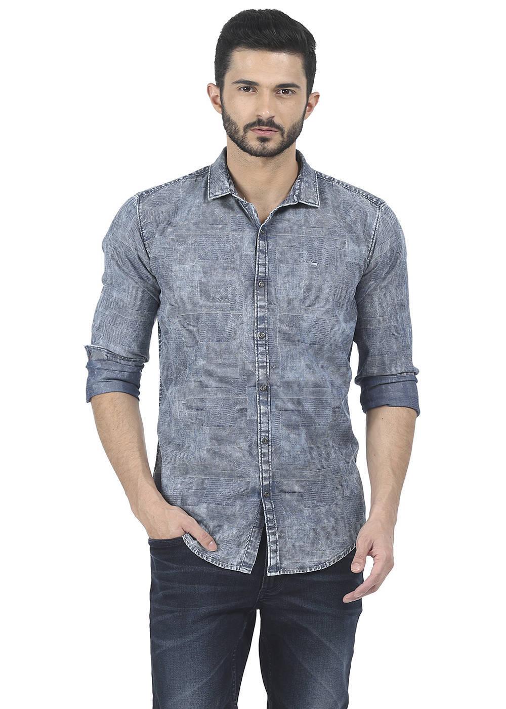 Basics | Basics Slim Fit Eventide Jacquard Indigo Shirt