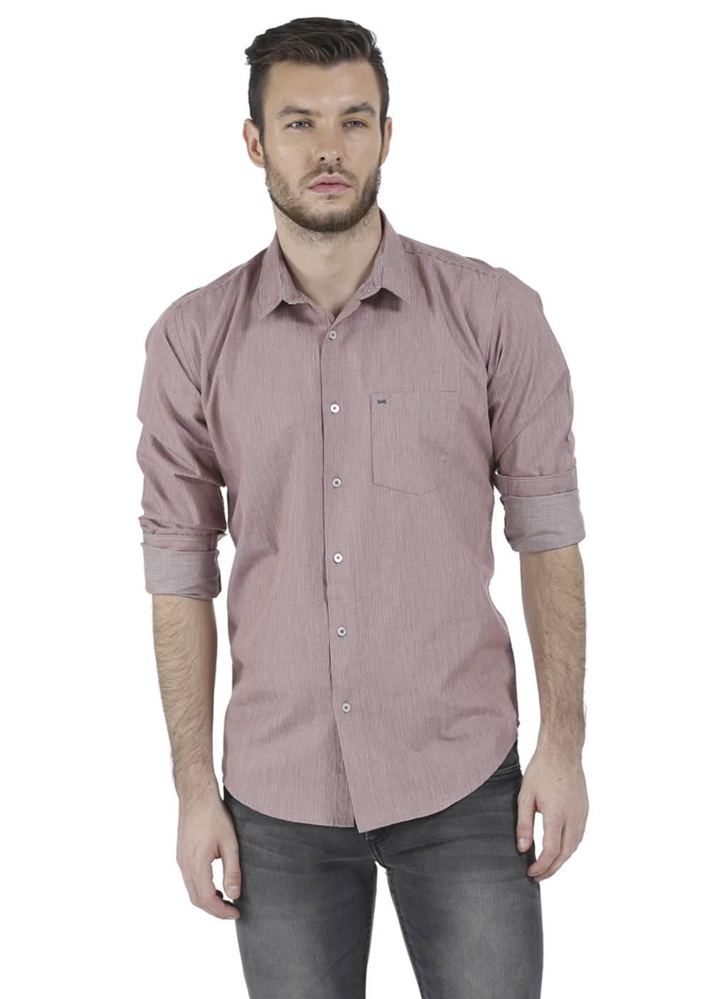 Basics   Basics Slim Fit Mineral Red Melange Shirt-16BSH34190