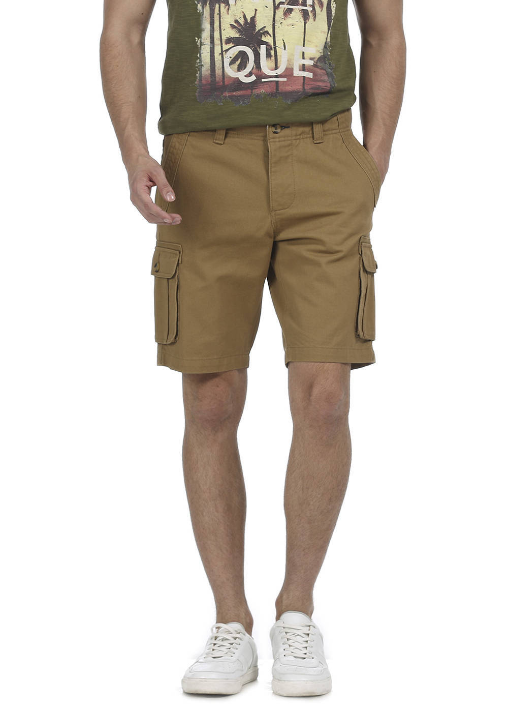 Basics   Basics Comfort Fit Bistre Khaki 6 Pocket Cargo Shorts
