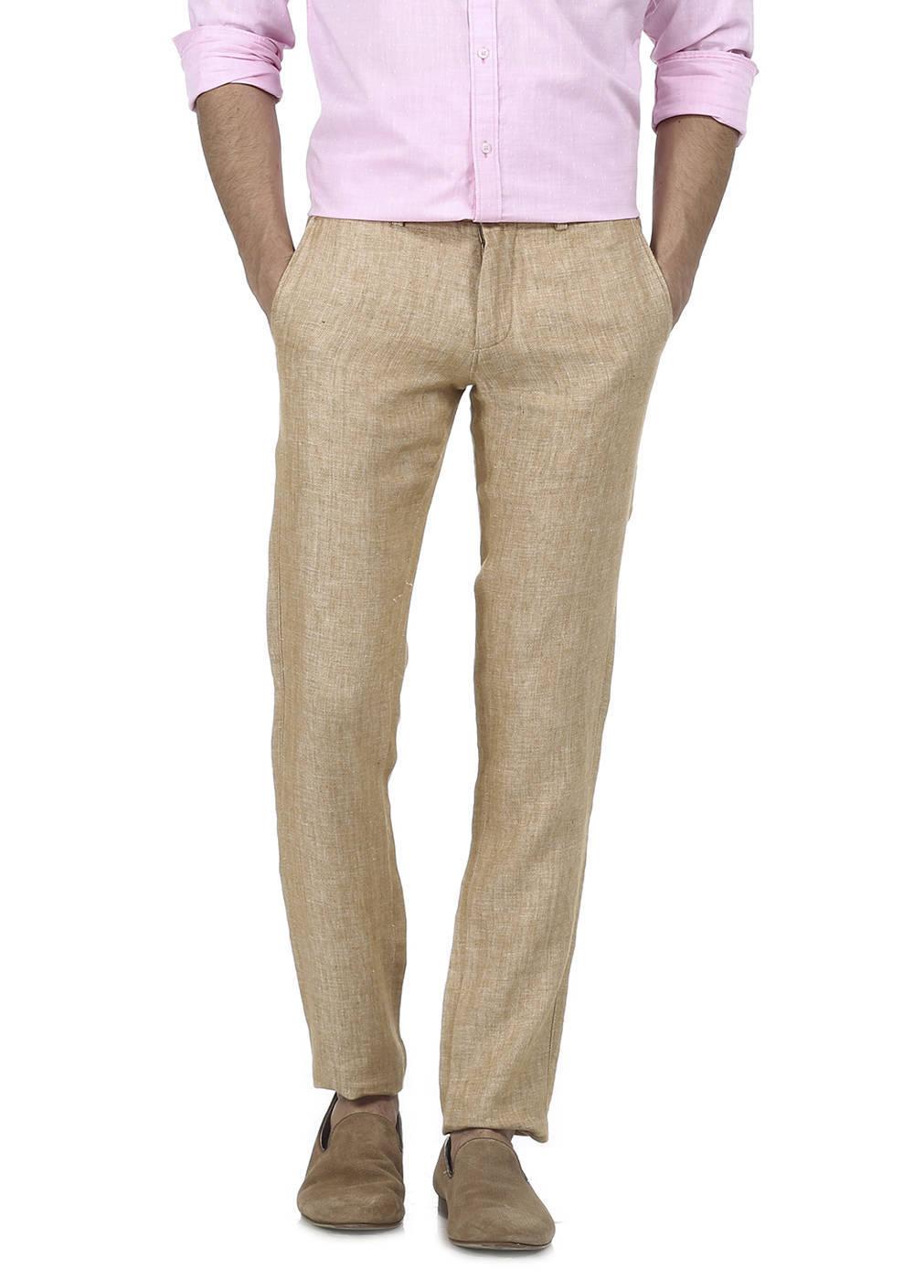 Basics | Basics Tapered Fit Wood Thrush Linen Trouser
