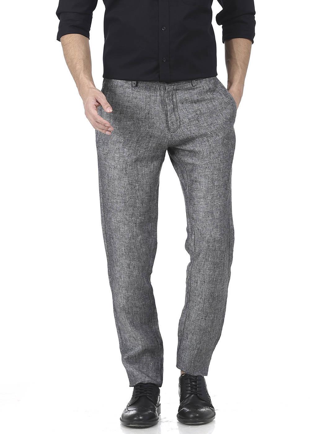 Basics | Basics Tapered Fit Raven Black Linen Trouser
