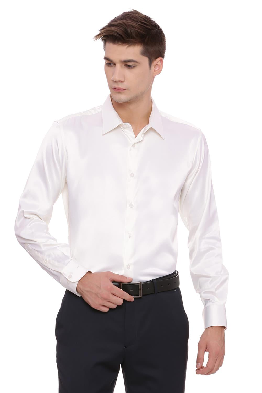 Basics   Basics Trim Fit Ecru Satin Stretch Shirt